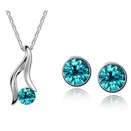 Wholesale Middle Heel Fashion Shoes - Austrian Crystal Necklace Earrings Sets High-heeled shoes Jewelry Set Alloy Zircon Earrings Set Fashion Females Jewelry Set 1219