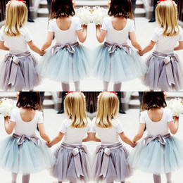 Wholesale Cheap Grass - Cute Cheap Children Skirts 2016 Baby Girls Tulle Skirts With Ribbon Sash Custom Made Tutu Ball Gown Flower Girl Party Dresses For Wedding