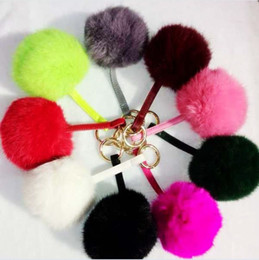 Wholesale Key Ring Strings - 13 Color Bunny Cony Hair Fur Balls With Leather String 9cm Kids Girls Hanging Key Ring Keychain Pendant Novelty Keychain Gifts Present K3123