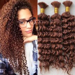 Wholesale 26 Inch Bulk Braiding Hair - #33 Mongolian Human Hair Bulk No Weft Deep Curly 3 Bundles Bulk Hair For Braiding FDSHINE