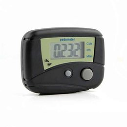 Wholesale lcd run step pedometer - Two button Pocket LCD Pedometer Mini Single Function Pedometer Step Counter LCD Run Step Pedometer Digital Walking Counter White box Package