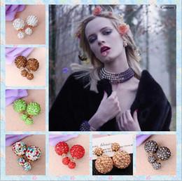 Wholesale 14mm Rhinestone Ball Beads - 8mm&14mm disco crystal ball stud earrings fashion jewelry earring Double ball Ear ring accessories diamond double bead