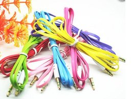 Wholesale Iphone Audio Jack Plug - Colorful Audio Cables Flat Noodle 3.5mm Aux Audio Auxiliary Cable Jack Male to Male Plug Stereo Cord Wire for iphone