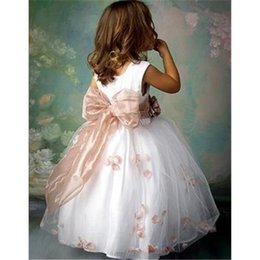 Wholesale Lace Wedding Gown Calf Length - children dress baby girls dresses pageant Princess dress 2015 new flower girl dress kids wedding prom party 2-8 T free shipping