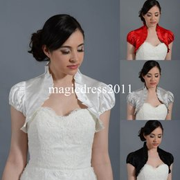 Wholesale White Satin Bolero Shrug - Black High Neck Short Sleeve Jackets 2015 Bridal Wraps Shawl Bolero Shrugs Stole Caps Women Bridesmaid Mother Dress Wrap FJ002 Cheap Silver
