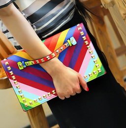 Wholesale Rainbow Small - Wholesale-Fashion Rainbow Envelope Clutch Bag Women Wristlets Leather Bags Colorful Small Shoulder Bag Handbag