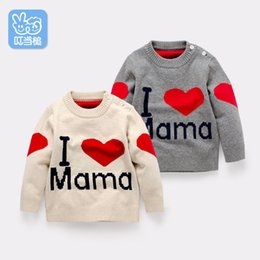 Wholesale Infant Girl Cardigans - Wholesale- Newborn Spring Autumn Knit Cardigan baby Boys Girls Sweater Warm Outerwear Infant Sweaters Pullovers I love mam pattern