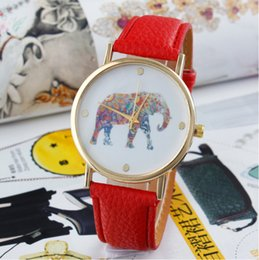 elephant wrist watches Promo Codes - new fashion chic dress quartz watches women elephant design chic flower printing ladies leather PU wrist watch E33J