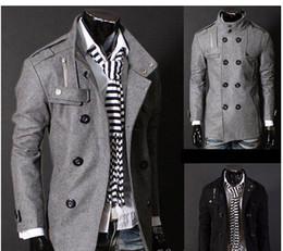 Wholesale Wool Coat Free Shipping - Free Shipping Black Grey Men's Wool Coat Double Breasted Shoulder Epaulets Long Trench Coats Dropshi
