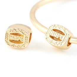 Wholesale Metal Square Letter Beads - 18K Gold Alloy Beads Square Shape With HOPE DIY Big Hole Metal Beads Spacer Murano Bead Charm Fit For Pandora Bracelet Charms