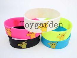 Wholesale Evolution Silicone Bracelet - mix Pikachu Bracelets Wristband Silicone Bracelet Eevee Evolution Bangle100pcs