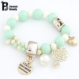 Wholesale Name Beads Wholesale - Wholesale-Brand Fashion Bohemian Beads Multielement Romantic Pearl Beads Hearts Roses Name Plate Eiffel Charm Bracelet for Women Jewelry