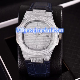 Wholesale Water Stone Color - Carving machine 2813 men's automatic watches Silver Diamond case three color leather strap sports full diamonds watches size 40mm