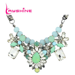 Wholesale Original Women Perfume - Wholesale-New 2015 Luxury Green Color Rhinestone Collar Necklace Perfume Women Boho Original Jewelry