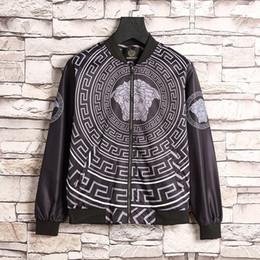 Wholesale Men Black Nylon Windbreaker Jacket - 2017 new autumn high quality men floral jacket bomber and coat black zipper cardigan skateboarding windbreaker men jacket coat #8813