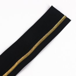 Wholesale Apparel Tape - 38mm Elastic Stretch Ribbon Tape Black Gold Strap Band Applique Sewing Accessories cinta for Apparel 20yard T1254