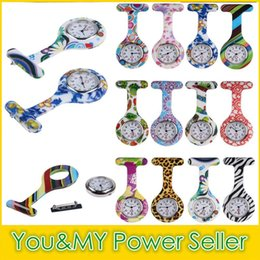 Wholesale Analog Print - New Colorful Prints Silicone Nurse Pocket Watch Doctor Fob Quartz Watch Kids Gift Watches 12 Fashion Patterns 30 PCS Free DHL