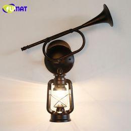 Wholesale Antique Lanterns - FUMAT Wall Lamps Vintage Horn Wall Light Fixture Antique Classic Metal Kerosene Lamp Retro Glass Hanging Lantern Wall Lamp