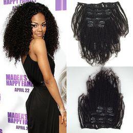 Китайские странные волосы онлайн-Кудрявый вьющиеся клип в китайских человеческих волос девственные человеческих волос 7pcs 120G кудрявый вьющиеся клип в человеческих волос расширения для черных женщин