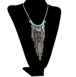 Wholesale Moon Shaped Beads - Bohemian style silver plated alloy moon shape rhinestone blue beads metal long tassel necklaces