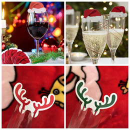 Wholesale Glass Table Decorations - Mini Christmas Wine Glass Paper Cards Santa Hat Deer Antlers Table Place Cards Wine Champagne Glass Cup Decor OOA3593