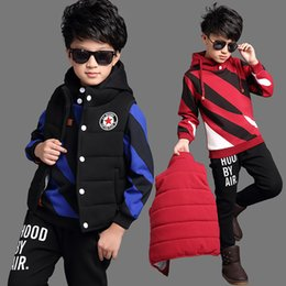 Wholesale Boys Wearing Briefs - 2017 Thickening boy color HBA Vest three baseball clothing sweater suit autumn 6-16 year old children clothing sports casual wear suit
