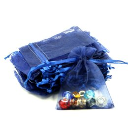 Wholesale Cheap Printed Plastic Bags - 7x9cm Navy Blue Organza Jewelry Gift Bags Cheap Wedding Gift Bags Coffee Beans Bags Customed Logo Printed 100pcs lot Wholesale
