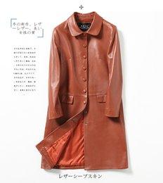 Wholesale Womens Sheepskin Jacket - Sheepskin leather coat New leather windbreaker Womens single breasted coat slim single jacket