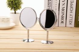isolierfolienpapier Rabatt Heißer Verkauf Make-up Spiegel Silber Metall Spiegel Dual Side Vanity Desktop Spiegel Drehfunktion Make-Up Metall Bank Schminkspiegel