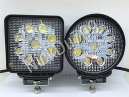 Wholesale Square Driving Led Light - 27W Round Square LED Work Driving Spot Lights Flood Spot Beam For SUV Jeep Truck Offroad Lamp Automotive Led Lights Trailer 20Pcs Ctn