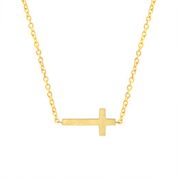 Wholesale Crucifix Necklace Mens - Crucifix Jesus Christian Jewelry Gold Color Cross Pendant Necklace Prayer Christ Mens Women Girl Kids Stainless Steel Chain