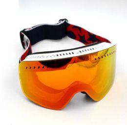 Wholesale White Snow Mask - Orange Lens White Frame Ski Goggles Double Lens UV400 Anti-Fog Big Ski Mask Glasses Skiing Men Women Snow Snowboard Goggles