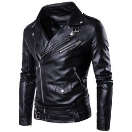 Wholesale Leather Fur Coats For Men - Wholesale- MarKyi fashion mens faux fur coats slim fit long sleeve motorcycle leather jacket for men Eu size 5xl imported jackets