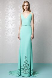 Wholesale Mint Dresses For Maternity - Tony Ward 2016 Mint Green Evening Dress Long Sheath Aqua V Neckline Sexy Dresses Evening Wear For Women Plunging Necklines Evening Gowns