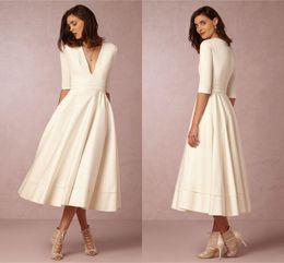 Wholesale Cheap Short Color Wedding Dresses - Deep V-neck BHDN Beach Wedding Dresses Half Sleeves A-line Tea Length Satin Wedding Gowns Cheap Bridal Dresses