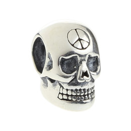 Wholesale Silver Peace Signs - Beads Hunter Jewelry Authentic 925 Sterling Silver Skull with Peace Sign Charm fashion jewelry bead for European Bracelet snake chain bangle