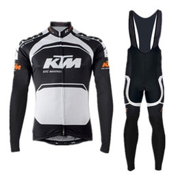 Wholesale Black White Cycling Bibs - bicicleta cycling jersey ktm long sleeves  bib shorts riding bike sportswear black-orange-white roupa ciclismo 2015 new arrivals