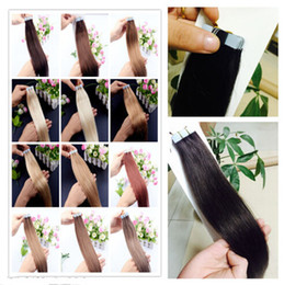 """Wholesale Cheap Taped Hair Extensions - Cheap tape hair extensions 16""""-26""""remy human hair PU skin weft brazilian tape hair 40pcs 100g pack free shipping"""