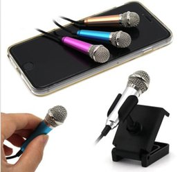 Wholesale Karaoke Laptop Microphone - Metal 3.5mm Jack Mini Condenser Microphone with Stand Studio Wired Microfone for Mobile Phone PC Laptop Karaoke with patch cord
