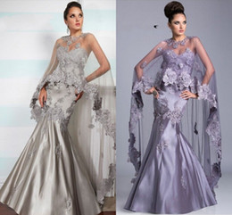 Wholesale Chiffon Lace Shawl Beads - Custum -Made Cape Sweetheart Mermaid Satin Backless Full Length Evening Dress Crystal Prom Gown Style Shawl Mother of the Bride Dresses