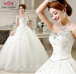 Wholesale Sequin Wedding Ball Gown Dresses - ISER QUEEN Crystal Beading Sweetheart Ball Gown Wedding Dress Lace Up Back Sleeleless Plus Size Quality Wedding Bridal Gown China WX0001