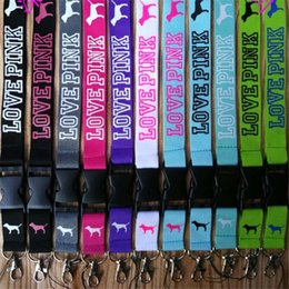 Wholesale Neck Lanyards For Keys - 13 colors Love Pink Letter Neck Strap Lanyard with Silver Metal Clip VS Lanyard for Key Phone iD Card Keychain