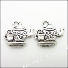 Wholesale Tea Charms Wholesale - 65 pcs Vintage Charms Tea set Pendant Antique silver Fit Bracelets Necklace DIY Metal Jewelry Making