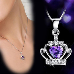 Wholesale Purple Cubic Zirconia Necklace - Classic Royal Purple Crown Shape Pendant Necklace with CZ Crystal Women Necklaces Wedding Jewelry White Gold Plated