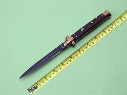 "Wholesale Ebony Wood Knife - AKC AGA Campolin 11"" Frosolone Pick Lo Stiletto Tactical Knife 9Cr18Mov steel 60HRC Ebony Wood Pocket knife knives new in original box"