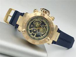 Wholesale Clock Days - invicta Blue color Wrist Watch MenTop Brand Luxury Famous Male Clock Quartz Watch Golden Wristwatch Quartz-watch Relogio Masculino