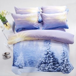 Wholesale Snow White Adult Cartoon - 3D Blue purple white snow bedding set quilt duvet covers bed in a bag sheets bedspreads bedroom linen bedsheets 100% cotton 4pcs bedcover