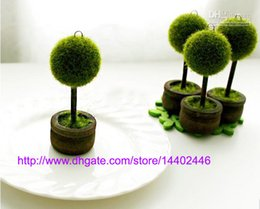 Wholesale Tree Place Card Holders Wedding - Free shipping 300pcs Wedding Favors Green Potted Plants Place Card Holder For Green Theme Topiary Tree Place wedding decoration
