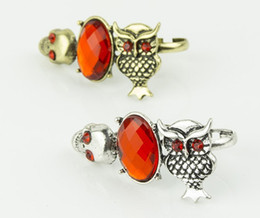 Wholesale Mixed Owl Order - Min.order is $15 (mix order) -European And American Selling Vintage Personality Owl Skull Bicyclic Ring Factory Direct-j019