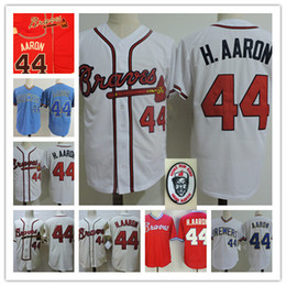 Wholesale Hank Aaron Baseball - Mens white 1963 #44 Hank Aaron Throwback Cooperstown Jerseys Stitched Blue Pullover Hank Aaron baseball Jersey S-3XL